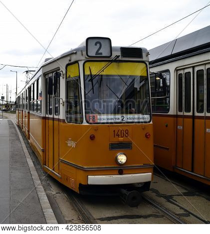 Budapest - Hungary - July 12, 2012: Public Transport In Budapest. Hystoric Old Yellow Tram. Hungary