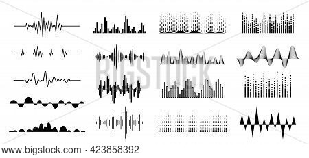 Sound Waves Icons Set. Pulsing, Wavy Line Of Audio Signal, Voice And Music. Concept For Radio Voice,