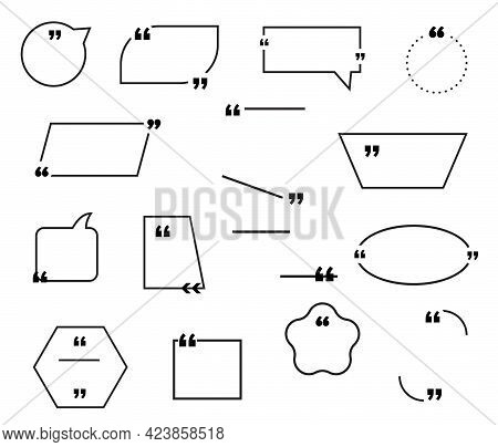 Quote Bubble Or Box Frame Vector Icons With Quotation Marks, Speech Balloons, Square, Rectangle And