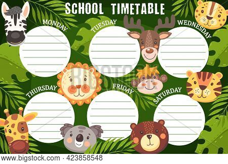 School Timetable Schedule With Funny Animals, Vector Week Planner Template. Cartoon Time Table With