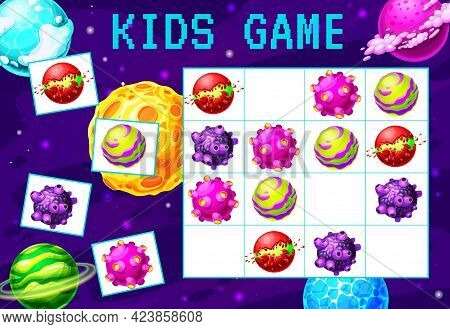 Cartoon Galaxy And Space Planets Sudoku Maze Game. Vector Kid Education Block Puzzle Game, Logic Rid