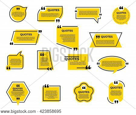 Quote Bubble And Box, Chat Message, Comment And Note Quote Vector Icons With Speech Bubble Or Dialog