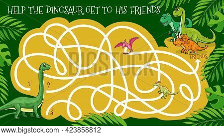Cartoon Dinosaurs Vector Labyrinth Maze Game Or Kids Riddle. Logic Puzzle, Game Or Education Quiz Wo