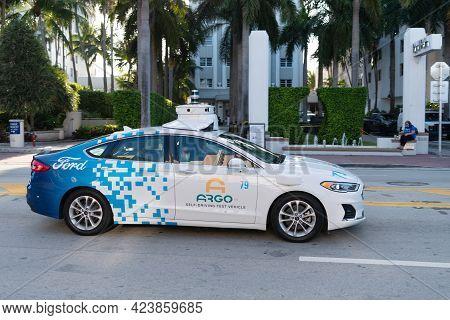 Miami Beach, Florida Usa - April 15, 2021: Ford Argo Self-driving Test Vehicle Autonomous Auto