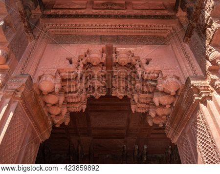 Agra, India - March, 28, 2019: Low Angle View Of A Decorative Doorway Arch At Red Fort