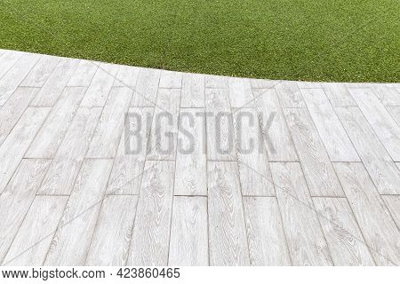 White Wooden Floors And Green Artificial Turf Outside The Building Pattern And Background Seamless