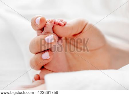 Mother holding tiny newborn baby hand with little fingers closeup in the bed with white bedding. Concept of matherinity love, care and tenderness
