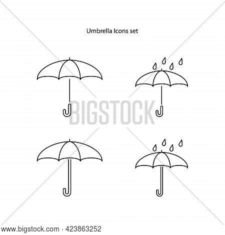 Umbrella Icons Set Isolated On White Background. Umbrella Icon Thin Line Outline Linear Umbrella Sym
