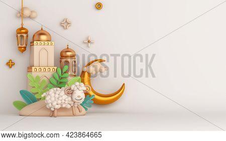 Eid Al Adha Islamic Decoration Background With Goat Sheep Arabic Lantern Crescent Mosque, Ramadan Ka