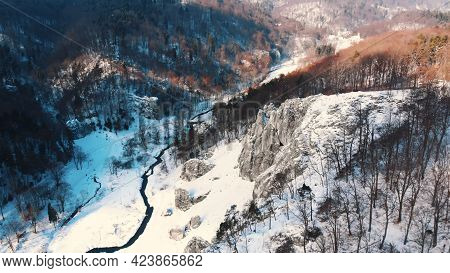 Winter View In The Valley Of The Ojcowski Park Narodowy In Krakow, Poland. Limestone Rocks With Ever