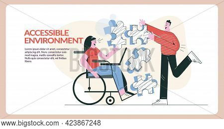 Disabled Student In Wheelchair Accessible Environment Concept Flat Vector Illustration. Girl With Ph