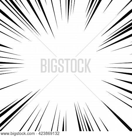 Comic Lines Frame Representing Speed Or Explosion. Cartoon Blast Drawing Template.