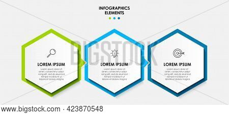 Vector Infographic Design Business Template With Icons And 3 Options Or Steps. Can Be Used For Proce