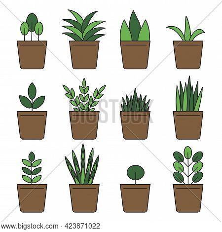 Cartoon Green Flowerpots. Interior Design. Home Icon. Floral Background. Vector Illustration. Stock