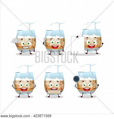 Cartoon Character Of Rum Drink With Various Chef Emoticons