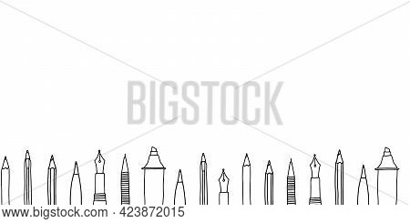 Hand Drawn Doodle Sketch Style Vector Illustration Of Various Pens, Pencils, Markers And Highlighter