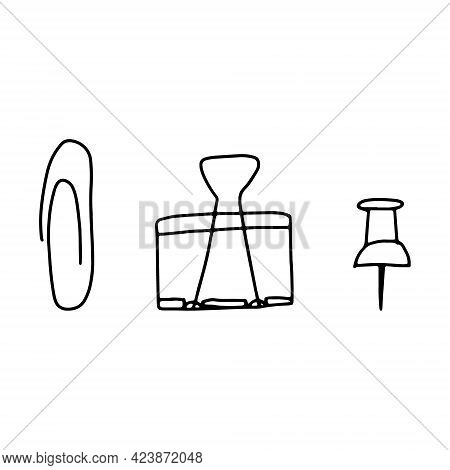 Hand Drawn Doodle Sketch Style Vector Illustration Of Staple, Binder Clips And Office Pin. Black, Is