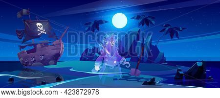 Tropical Island With Ghost Of Pirate And Broken Ship At Night. Vector Cartoon Sea Landscape With Sai