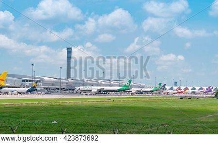 Samut Prakan, Thailand-may 15, 2021 : Cargo Aircraft Parked At Airfield In The Airport Near Airport