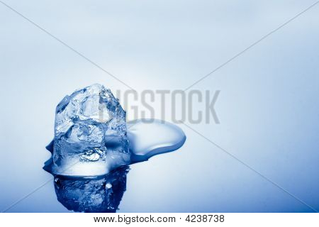 one cold blue toned ice cube copy space for text poster