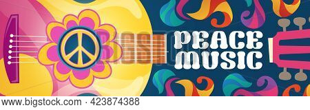 Hippie Music Cartoon Banner With Acoustic Guitar And Peace Symbol On Colorful Ornate Psychedelic Bac
