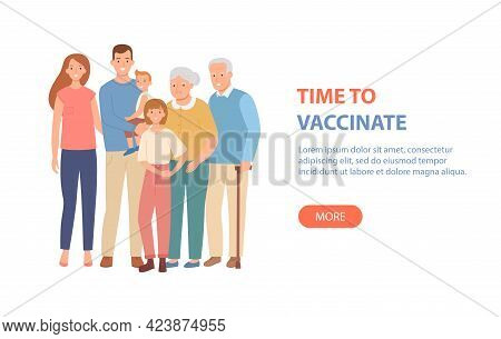 Family Vaccination Concept. Time To Vaccinate Banner For Covid-19, Or Influenza