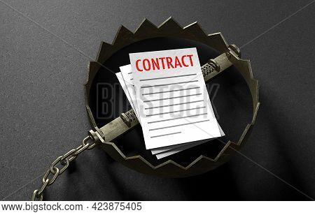 The Contract Is Like Bait Inside The Trap. The Concept Contract Lures You Into A Trap. A Bear Trap W