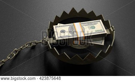 Stack Of Money Dollars As Bait Inside The Trap. Concept Money Lures You Into A Trap. A Bear Trap Wit