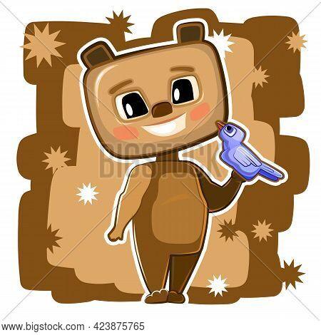 Teddy Bear. Cartoon Style. Young Cub. Vector. Cute Baby.