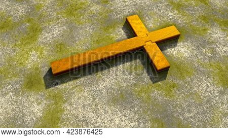 Concept or conceptual golden cross on a vintage grungy stone background. 3d illustration metaphor for God, Christ, Christianity, religious, faith, holy, spiritual, Jesus, belief or resurection