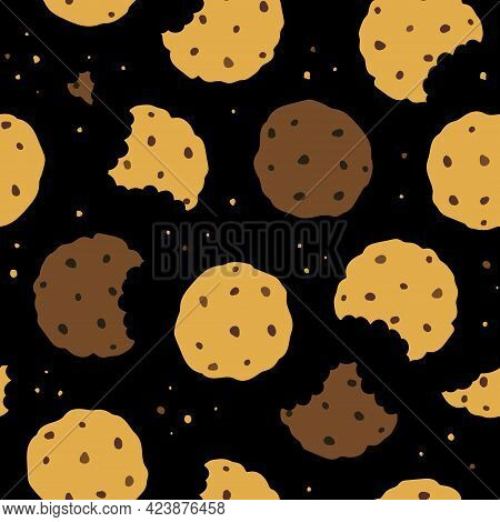 Seamless Pattern With Homemade Choco Chip Cookies With Chocolate Crisps Isolated On Black Background