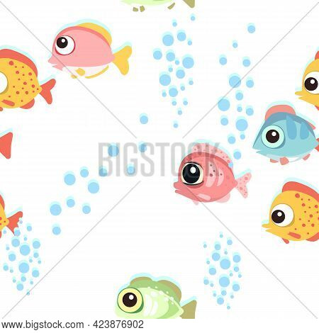 Funny Funny Fish. The Bottom Of The Reservoir. Sea Ocean. Bubbles. Underwater Landscape With Plants,
