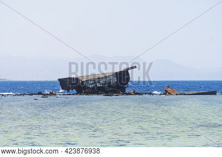 The Sunken Ship Wreck On The Reef, Egypt, Red Sea.