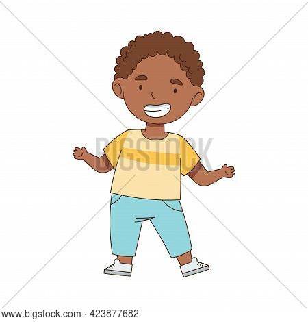 Cheerful African American Boy Standing With Open Arms For Hug Vector Illustration
