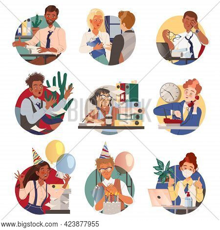 Man And Woman Office Worker At Workspace Performing Duties Circle Composition Vector Set