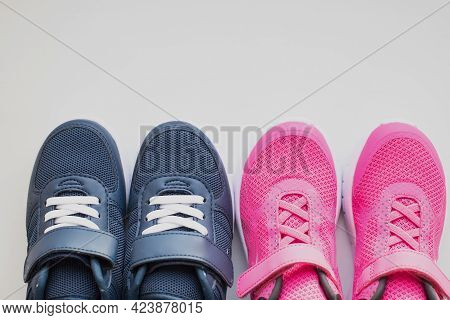 Fashion Stylish Textile Kids Shoe. Teens Footwear With Laces Empty Space For Text.fashion Stylish Sp