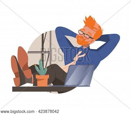 Redhead Freckled Man Office Worker With His Legs On Desk Dreaming At Workspace Circle Vector Composi