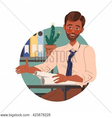 Mustached Man Office Worker At Workspace Performing Duty Circle Vector Composition