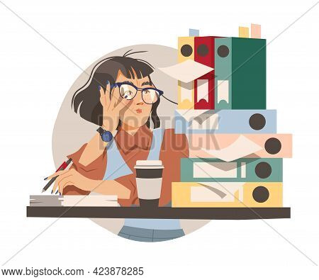 Woman Office Worker In Glasses With Pile Of Folders And Documents At Workspace Performing Duty Circl