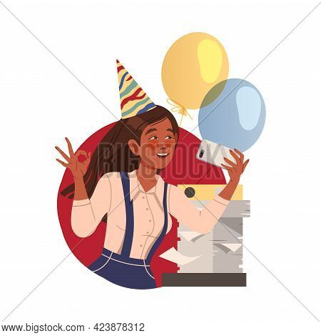Happy Woman Office Worker In Birthday Hat At Workspace Taking Selfie Circle Vector Composition