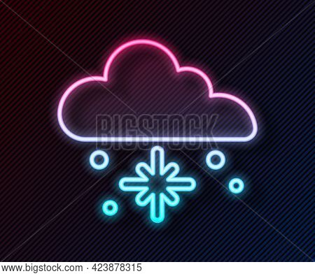 Glowing Neon Line Cloud With Snow Icon Isolated On Black Background. Cloud With Snowflakes. Single W