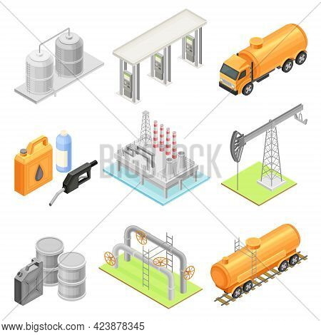 Oil Or Petroleum Industry With Extraction Refining And Transporting Process Isometric Vector Set