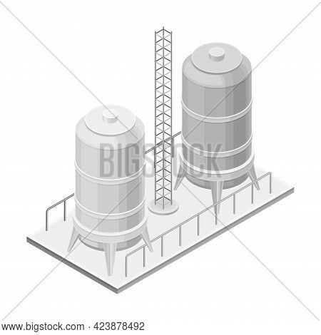 Steel Tank Or Storage Reservoir With Oil Or Petroleum Isometric Vector Illustration