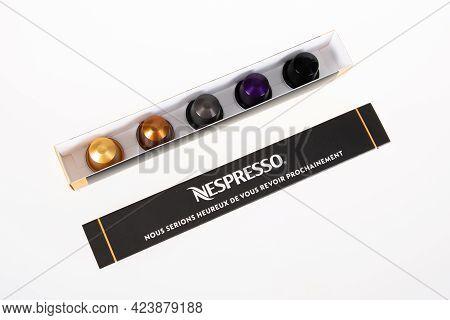Perpignan , Occitanie France - 06 06 2021 : Nespresso Coffee Doses Open Box Of Five Pod Aluminum Met