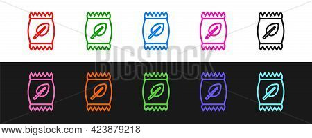 Set Line Fertilizer Bag Icon Isolated On Black And White Background. Vector