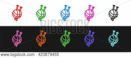Set Line Yarn Ball With Knitting Needles Icon Isolated On Black And White Background. Label For Hand