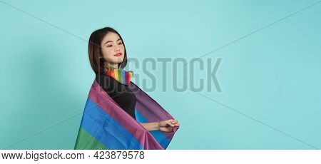 Lgbtq Girl And Pride Flag. Sexy Lesbian Girl And Lgbtq Flag Standing.