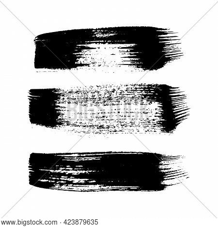 Black Grunge Brush Strokes. Set Of Three Painted Ink Stripes. Ink Spot Isolated On White Background.