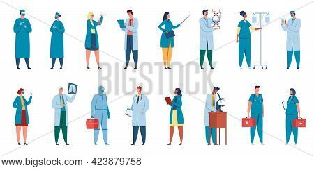 Hospital Workers. Healthcare Characters Doctors, Nurses, Surgeons, Physicians In Professional Unifor