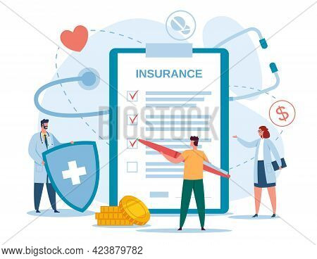 Health Insurance. Doctor With Shield And Patient Filling Insurance Documents. Health Protection, Med